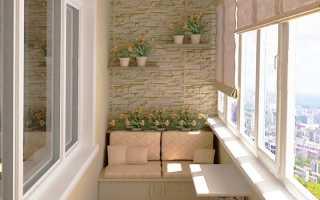 Отделка балкона под кирпич