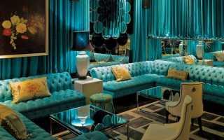 Темно бирюзовый диван в интерьере