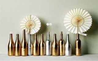 Декор бутылки камнями